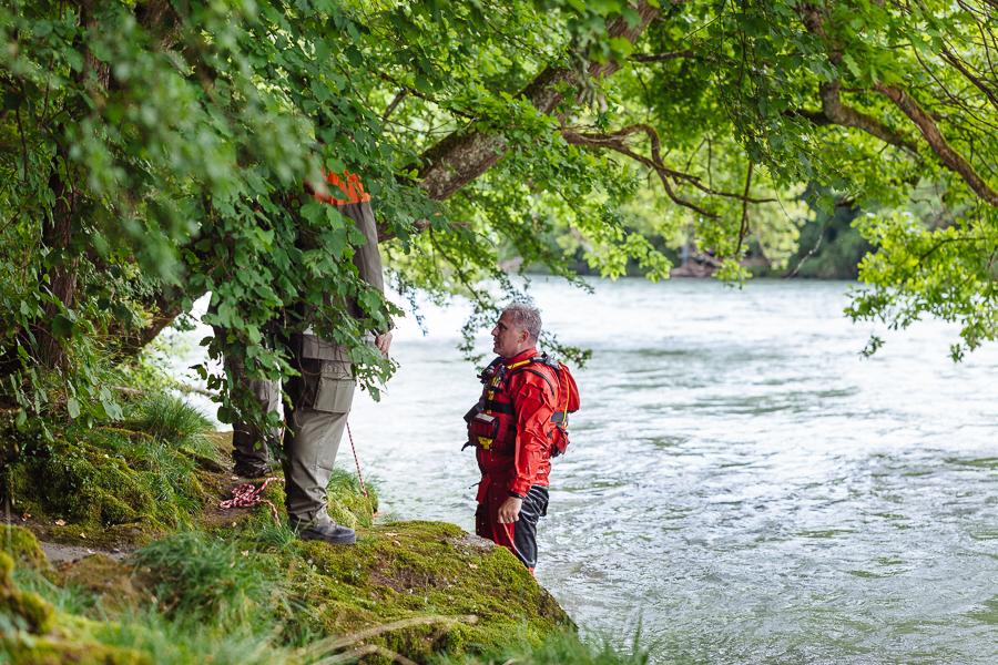 Protection Civile de la Ville de Carouge, entrainement de sauvetage en milieu fluvial.