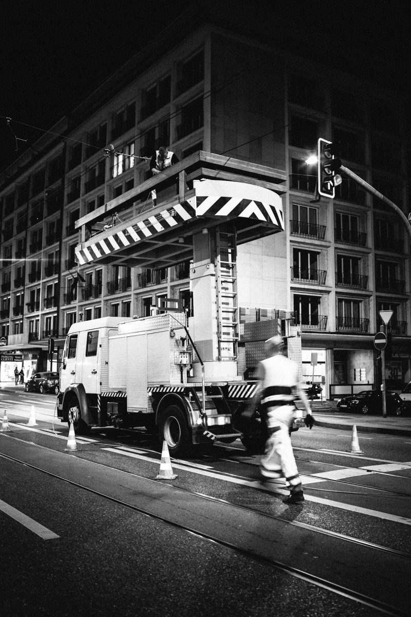 Reportage on the Transports Publics Genevois workers' nightshift. Sparks and shadows in the depth of the night. These invisible workers keep the infrastructure on working condition.