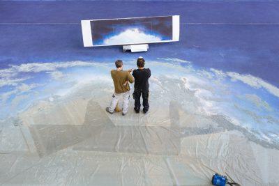 Atelier peinture du Grand Théâtre</br>création du décor pour Il Giasone