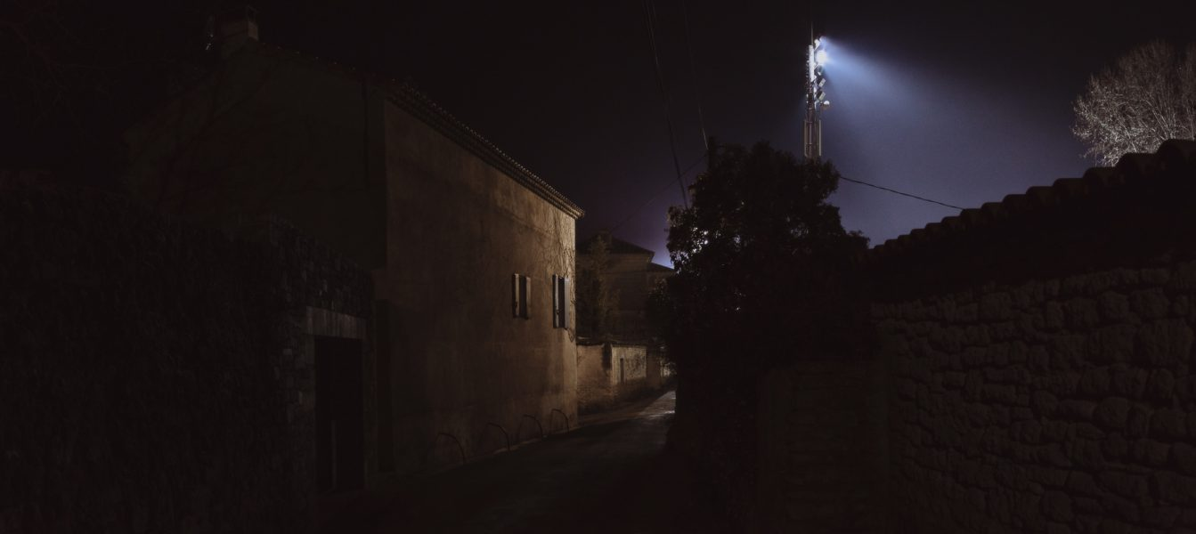 Backstreet in Uzès, France, near the old town. In the evening, the young people meet at the soccer fields to train.
